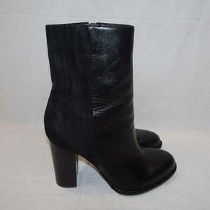 SAM EDELMAN Black Leather Suede Reyes Boots